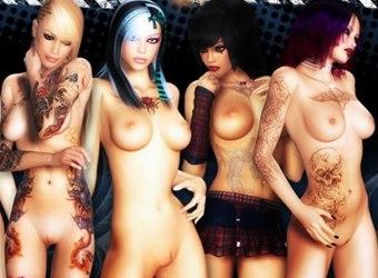 3D chicas malas colegialas desnudas